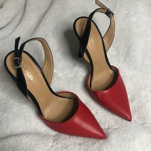 Express Red Pointed Toe Heels Black 7 Powerful